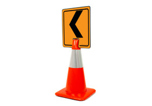 Left Chevron Vertical Clip-On Cone Sign