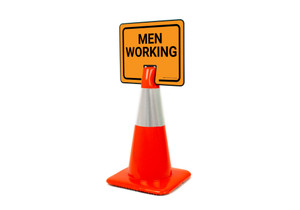 Men Working Clip-On Cone Sign