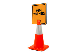 Men Working Vertical Clip-On Cone Sign