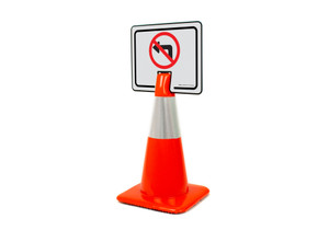No Left Turn Symbol Clip-On Cone Sign