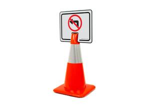 No Left Turn Symbol Clip-On Cone Sign