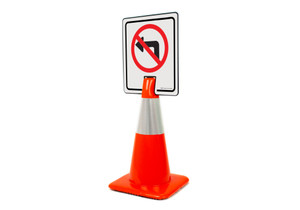 No Left Turn Symbol Vertical Clip-On Cone Sign