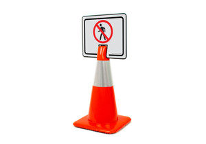 No Pedestrian Symbol Clip-On Cone Sign