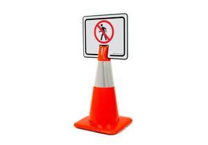 No Pedestrian Symbol Clip-On Cone Sign