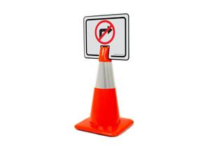 No Right Turn Symbol Clip-On Cone Sign