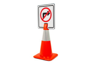 No Right Turn Symbol Vertical Clip-On Cone Sign