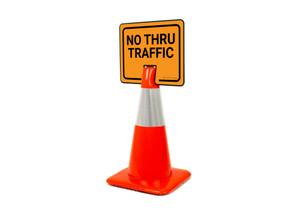 No Thru Traffic Clip-On Cone Sign