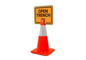 Open Trench Clip-On Cone Sign