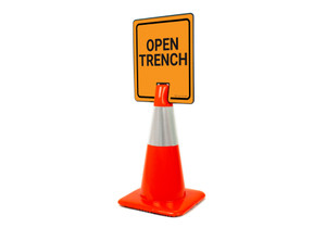 Open Trench Vertical Clip-On Cone Sign
