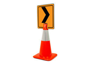 Right Chevron Vertical Clip-On Cone Sign