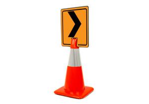 Right Chevron Vertical Clip-On Cone Sign