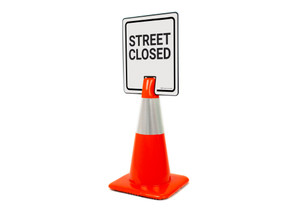 Street Closed Vertical Clip-On Cone Sign