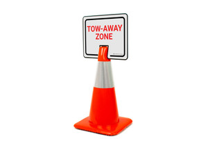 Tow-Away Zone Clip-On Cone Sign