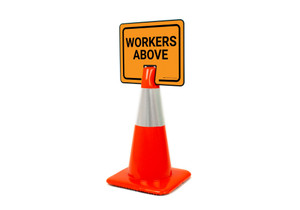 Workers Above Clip-On Cone Sign