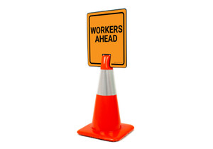 Workers Ahead Vertical Clip-On Cone Sign
