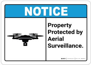 Notice: Property Protected by Aerial Surveillance - Wall Sign
