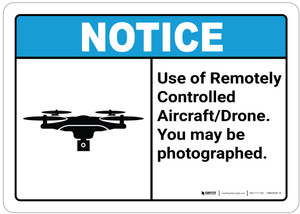 Notice: Use of Drone/You May be Photographed - Wall Sign