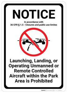 Notice: Operating Aircraft Within Park Area is Prohibited - Wall Sign