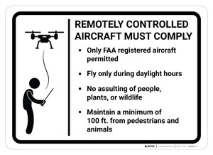 Remotely Controlled Aircraft Must Comply with Rules - Wall Sign