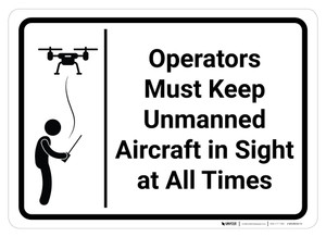 Operators Must Keep Unmanned Aircraft in Sign at All Times - Wall Sign