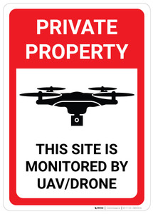 Private Property: This Site is Monitored by UAV/Drone - Wall Sign