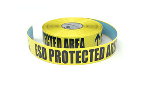 ESD Protected Area with Hand Symbol and Two Arrows - Inline Printed Floor Marking Tape