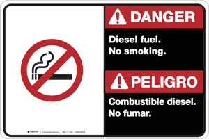 Bilingual Danger Diesel Fuel No Smoking Wall Sign