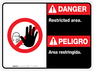 Bilingual Danger Restricted Area Wall Sign