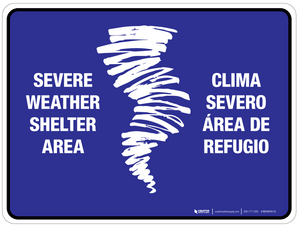 Bilingual Severe Shelter Area (blue) Wall Sign