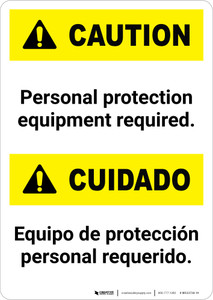 Caution: Bilingual Caution: Personal Protection Equipment Required - Portrait Wall Sign