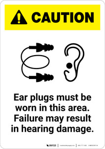Caution: Ear Plugs Must Be Worn In This Area - Portrait Wall Sign