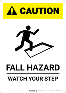 Caution: Fall Hazard - Portrait Wall Sign