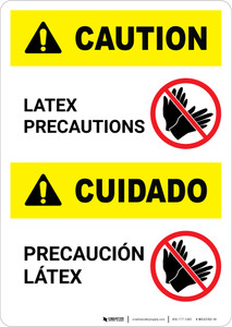 Caution: Latex PreCaution: Bilingual (Spanish) - Portrait Wall Sign