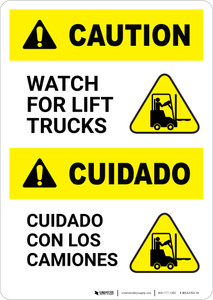 Caution: Lift Trucks Bilingual (Spanish) - Portrait Wall Sign