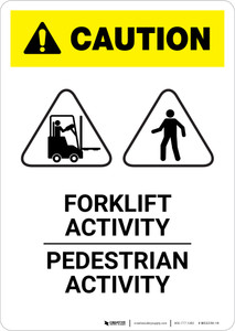 Caution: Pedestrian Activity Forklift Activity - Portrait Wall Sign