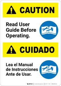 Caution: Read User Guide Before Operating Bilingual Spanish - Portrait Wall Sign