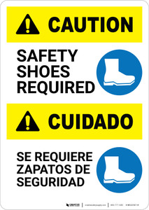 Caution: Safety Shoes Required Bilingual - Portrait Wall Sign