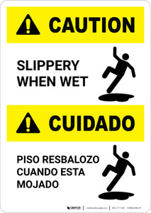 Caution: Slippery When Wet Bilingual - Portrait Wall Sign