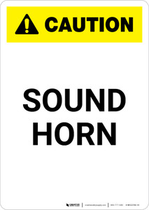 Caution: Sound Horn - Portrait Wall Sign