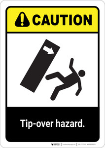 Caution: Tip Over Hazard ANSI - Portrait Wall Sign