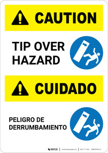Caution: Tip Over Hazard Bilingual - Portrait Wall Sign
