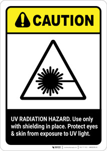 Caution: UV Radiation Hazard Protect Eyes and Skin ANSI - Portrait Wall Sign