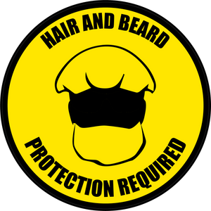 Hair and Beard Protection Required Floor Sign (Version 2)