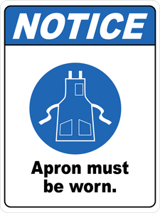 Notice - Apron Must Be Worn Floor Sign
