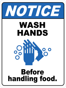 Notice - Wash Hands Before Handling Foods Floor Sign