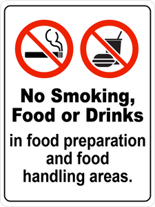 No Smoking, Food, or Drinks in Food Handling Areas Floor Sign