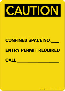 Caution: Confined Space No. Permit Required - Portrait Wall Sign