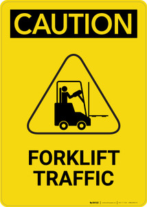 Caution: Forklift Traffic With Graphic - Portrait Wall Sign