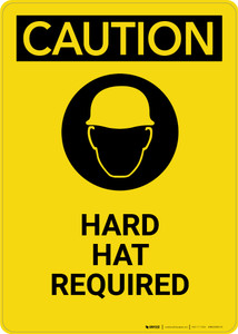 Caution: Hard Hat Required with Graphic - Portrait Wall Sign