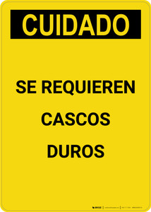 Caution: Hard Hats Required Spanish - Portrait Wall Sign